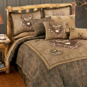 Whitetail Ridge King 4pc Comforter Set w/shams, bedskirt Browns Tans Buck Deer
