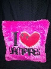"""Pre-owned """"I Love Vampires""""  hot pink plush pillow"""