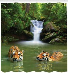 Tiger Shower Curtain Calm Wild Animal Jungle Waterfall tigers Print for Bathroom