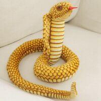 110cm Orange Cobra Snake Plush Stuffed Horror Doll Soft Halloween Simulation Toy