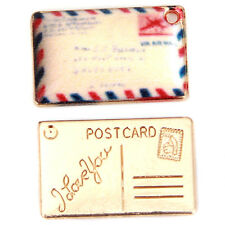 100pcs POSTCARD Letter Carved Envelope Gold Plated Alloy Pendant DIY Charms BS