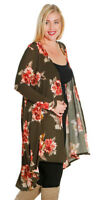 Long Olive Floral Hi High Low Cardigan Rose Flowers PLUS SIZE 1X 2X 3X 16 18 20
