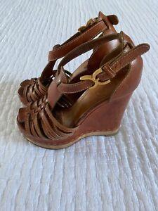 Chloe Tan Brown Leather Platform Wedge Sandals w/ Brass Logo Buckle EU 39 / UK 6