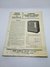 Vintage Sears Kenmore Automatic Console Home Humidifier Parts List Owners Manual
