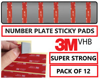 12 x NUMBER PLATE STICKY PADS 3M DOUBLE SIDED TAPE VHB NUMBER PLATE FIXINGS