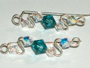 1 set pair ab Real Crystal Pair of Earrings sterling silver cuff or down NW