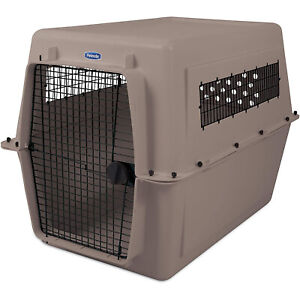 Petmate Ultra Vari 48 Inch Hard Sided Train & Travel Crate Carrier Kennel, Taupe