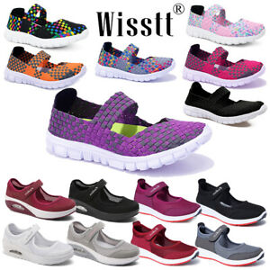 Womens Slip On Flat Sandals Trainers Ladies Casual Beach Woven Elastic Shoes UK