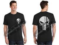 Tattered American Skull Thin Silver Line Corrections Officer Short Sleeve Shirt