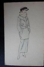 DESSIN ORIGINAL MODE VINTAGE ART NOUVEAU SILHOUETTE FEMININE CARTE POSTALE  1906