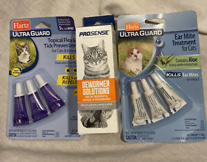 Cat Care Items (Lot Of 3) Pro-Sense Dewormer Solutions 4oz., Hartz Flea Tick