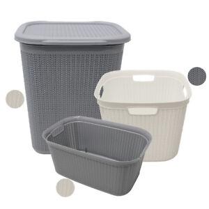 JVL Modern Knit Design Loop Plastic Washing Laundry Linen Baskets, Grey or White