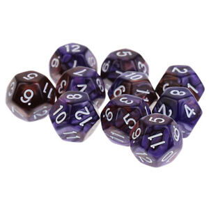 10pcs 12 Sided Dice D12 Polyhedral Dice for  Game Purple