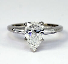 Diamond engagement ring 14K white gold 1.20C pear brilliant baguette 1.40CTW sz4