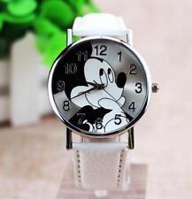 Cartoon Mickey Mouse Leather Wrist Watch Lady Girl Women Teens Kids Watches 01