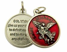 Red Enamel Saint Michael the Archangel Medal with Prayer Back, 3/4 Inch