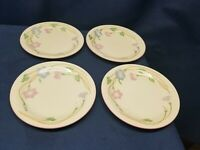 "Vintage Sango ""Primavera"" Stoneware Dessert/Salad Plates #8495 Cream/Pink/Blue"