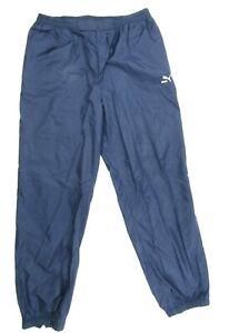 Vintage Puma Mens Wind Pants Size XL Blue Nylon Track Pants Waterproof Ankle Zip