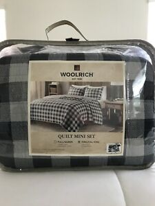 WOOLRICH QUILT MINI SET KING/CAL KING SIZE GRAY BLACK PLAID / NEW MSRP $259.99