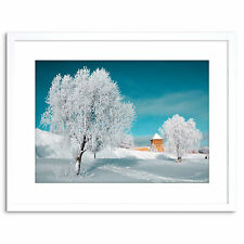 Photo Tree Snow Blue Landscape Winter Scenic Blue Framed Print 9x7 Inch