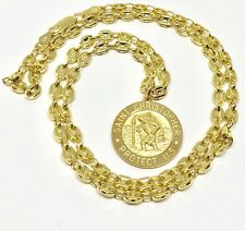 """18K Yellow Gold Over Sterling Silver St. Christopher Pendant With 22"""" Necklace"""