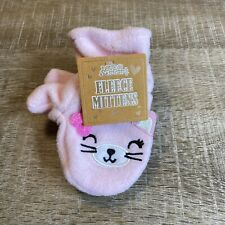 NWT Ages 12-24 Months Baby Girls Pair Mittens Cozy Fleece Kitty Cat Pink