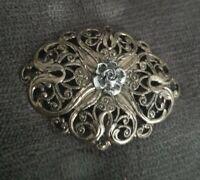vintage open work silvertone rose flower brooch pin