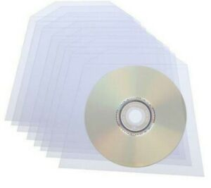 100 Clear CD DVD Blu-ray Sleeves Plastic Bags Cover Wallet Envelopes 80 Micron