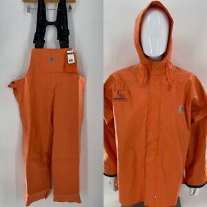 Carhartt Rain Jacket 102082 & Bibs 101982 Orange Construction Logo