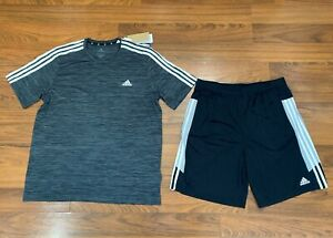 adidas 3-Stripes Men's Shorts T-Shirt 2pc Set Size M, L, XL Black / Gray New