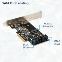 4 port Non-RAID SATA III 6Gbps and M.2 B Key 2242 PCI-e PCIe x4 Expansion Card