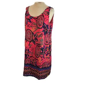 Rainbow Jo Tropical Flower Print Mini Dress Pink Purple L Large