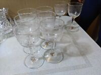 6 Small Edwardian? Etched Sherry Glasses & 2 others st40