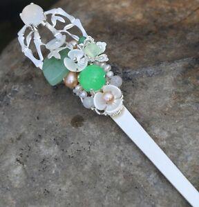 Oriental classic style handmade jade bamboo hairpin