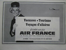 1967 PUB AIR FRANCE AIRLINE HOTESSE DE L'AIR STEWARDESS ORIGINAL FRENCH AD