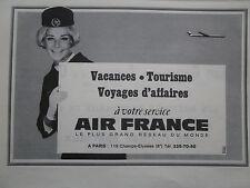 1967 PUB AIR FRANCE AIRLINE HOTESSE DE L'AIR STEWARDESS ORIGINAL FRENCH AD