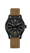 NEW Hamilton H70665533 Khaki Field Automatic Black Dial Leather Strap 42mm Watch