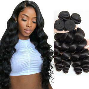 4Bundles Loose Wave Human Hair Extensions Weaves 100% Brazilian Human Hair Weft