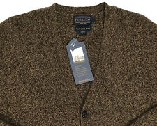 Men's PENDLETON Gold Brown Washable Wool Cardigan Sweater Large L NWT NEW NiCe!