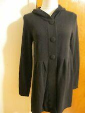 Aqua Women's Black Cashmere Hooded Long Cardigan Large New