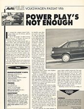 1993 VW Volkswagen Passat VR6 Original Car Review Print Article J612