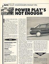 1993 VW Volkswagen Passat VR6 Original Car Review Print Article J612