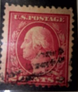 U.S. 1912 Postage Stamp 2 Cent Washington Scott 406 type l deep crimson