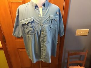 Columbia PFG Omni-Shade Fishing Vented Blue Short Sleeve Shirt Mens 2XL Nylon