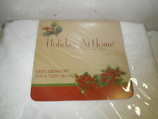 "New Holiday at Home fabric tablecloth 60"" X 102"" oblong white Pointsettias"
