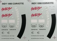 DECALS FOR 1/43 SCALE 1990 CHEVROLET CORVETTE INDY 500 PACE CAR - TWO SHEETS