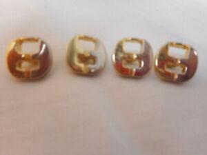 Authentic,  Vintage 4 Ferragamo Goldtone & Silver Metal Shank Buttons