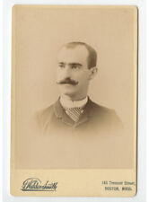 Cab Card Photo Man W/ Striped Tie, Ided On Back, From Bath, Me, By Smith