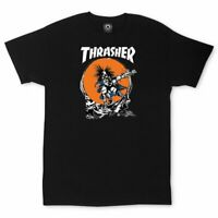 Thrasher Magazine Skate Outlaw Pushead T-shirt Skateboard Black New Size M L XL