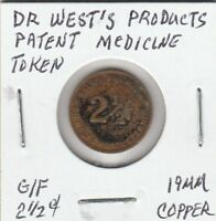 (Q) Token - Dr. West's Products - Patent Medicine Token - 19 MM Copper